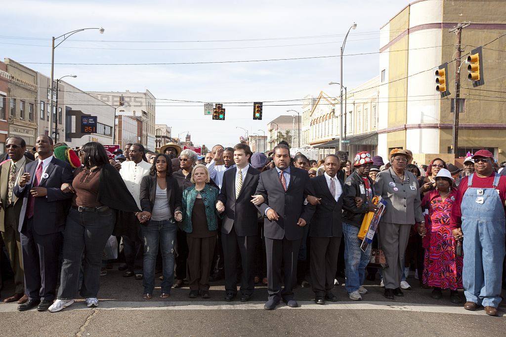 For the 45th Anniversary of the 1965 Civil Rights March from Selma to Montgomery, Alabama, people gathered to walk across the Edmund Pettus Bridge to recreate the event.