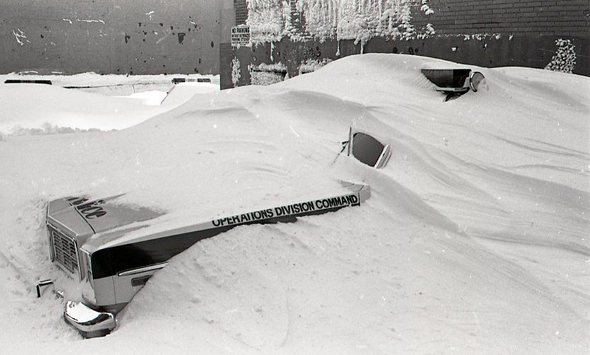 Operations vehicle under snow, blizzard in Boston, 1978