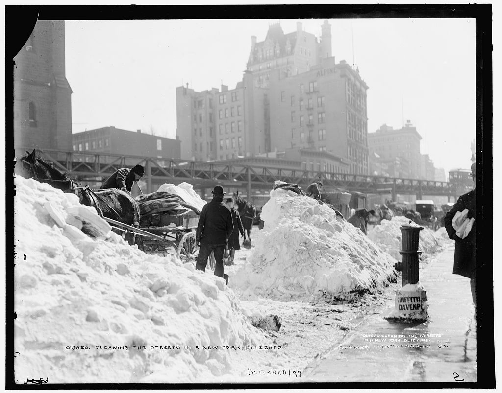 Cleaning the streets in a New York blizzard, 1899.