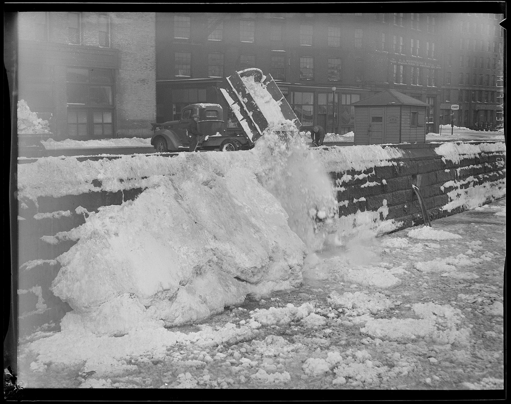 Snow removal in the city of  Boston, Courtesy of the Boston Public Library, Leslie Jones Collection.